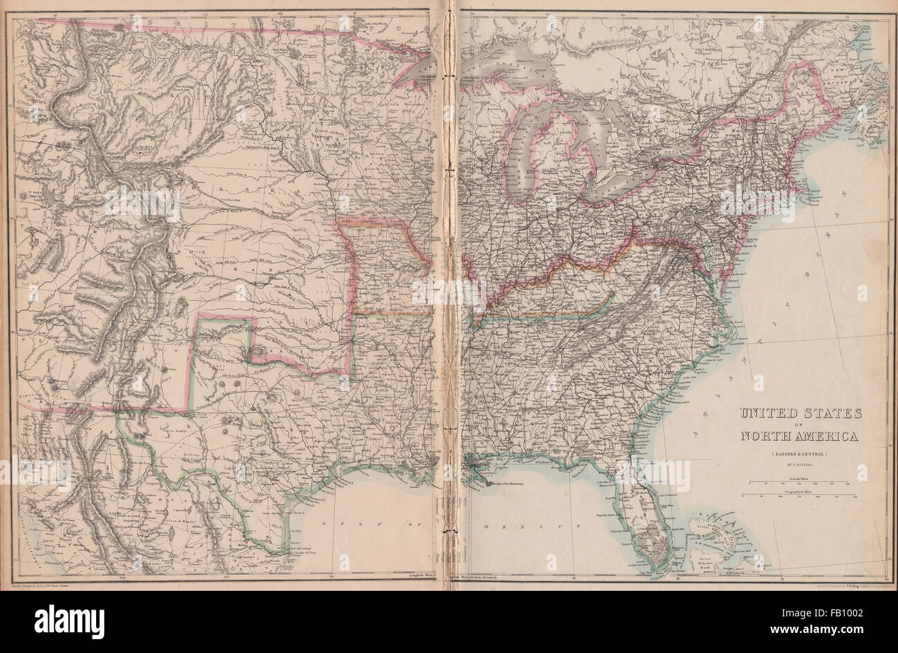 CIVIL WAR USA showing Union Confederate & Border states. ETTLING ...