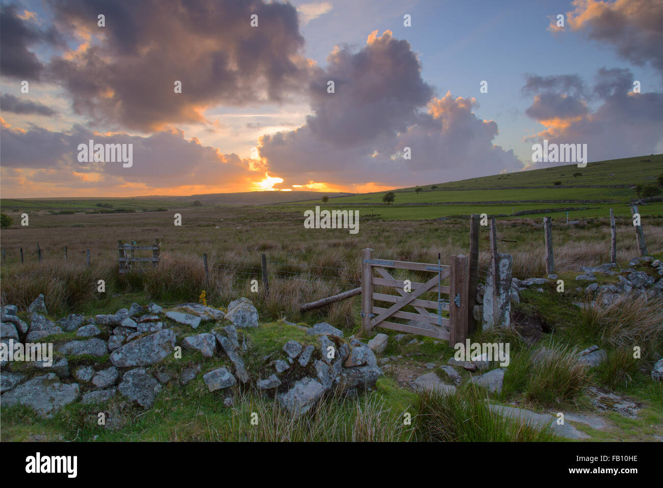 Sunset on Bodmin moor near Stowes Hill Minions - Stock Image