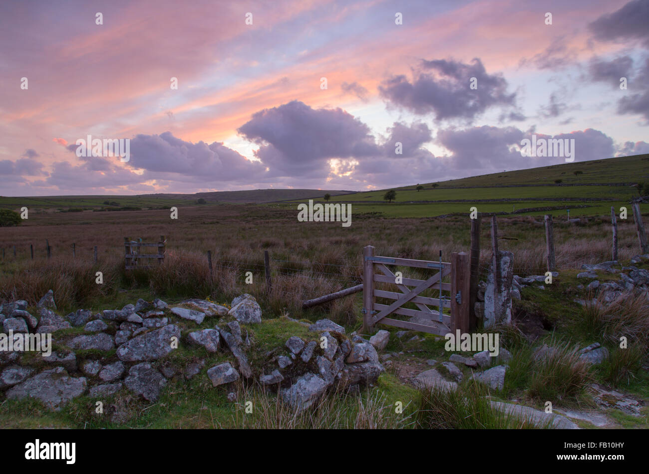 Sunset on Bodmin moor near Sharptor - Stock Image