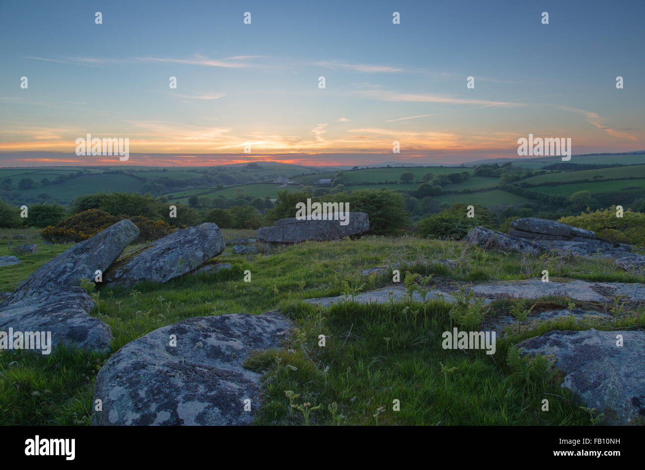 Sunset over Bodmin Moor from Siblyback Lake - Stock Image