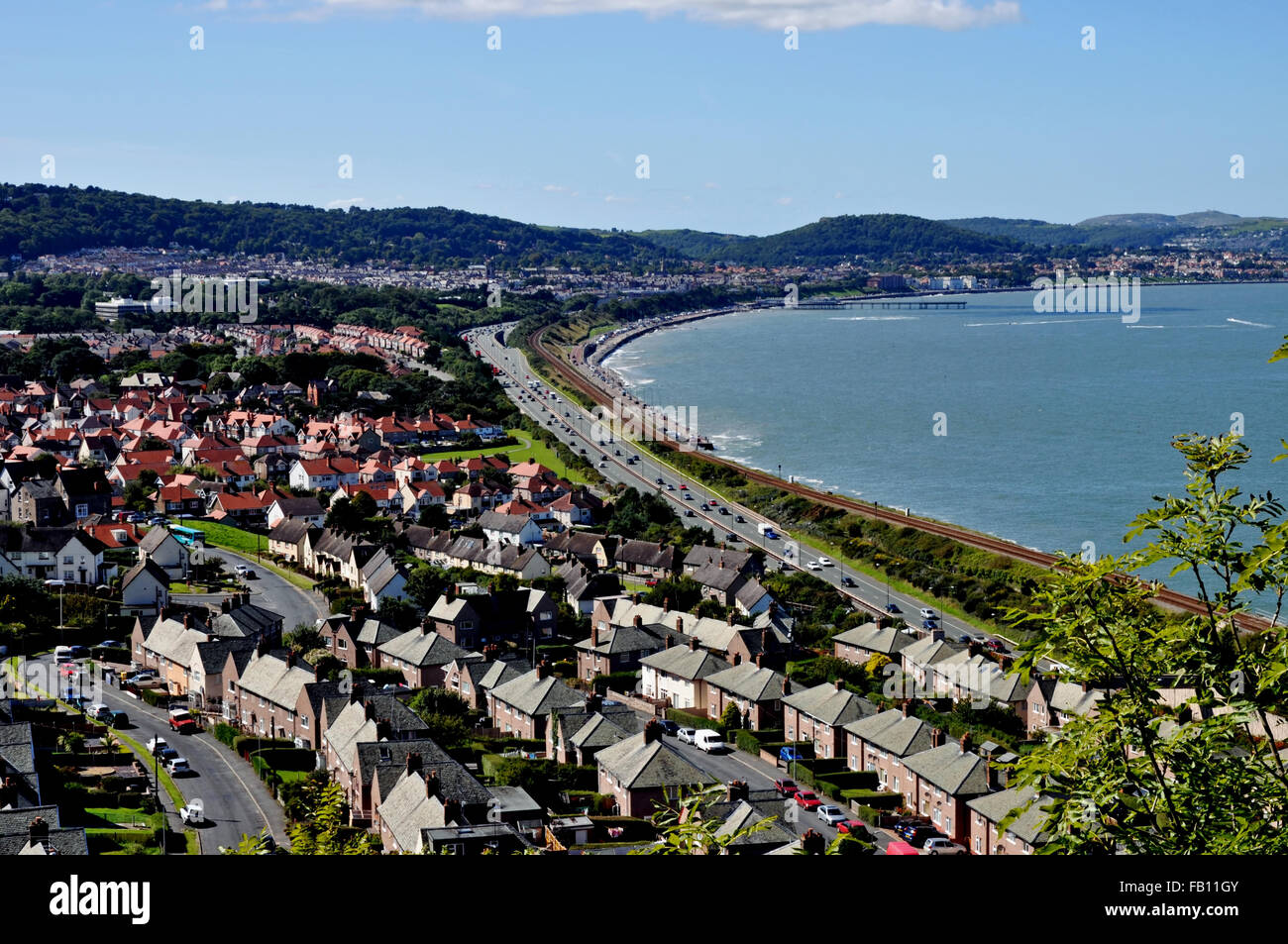 Aerial view of Colwyn Bay, a popular seaside resort in North Wales, United Kingdom - Stock Image