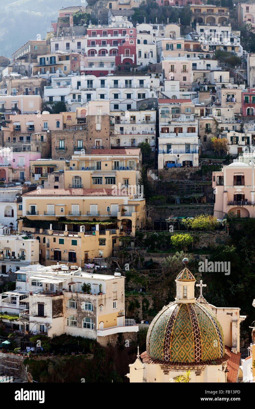 Residential buildings on hill - Stock Image