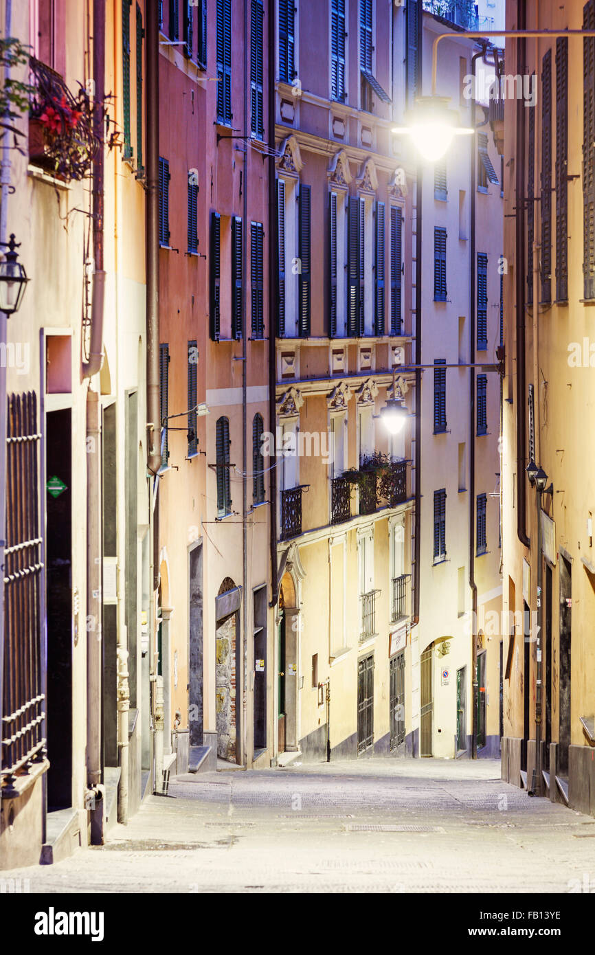 Streets of Genoa Historical Center at dusk - Stock Image
