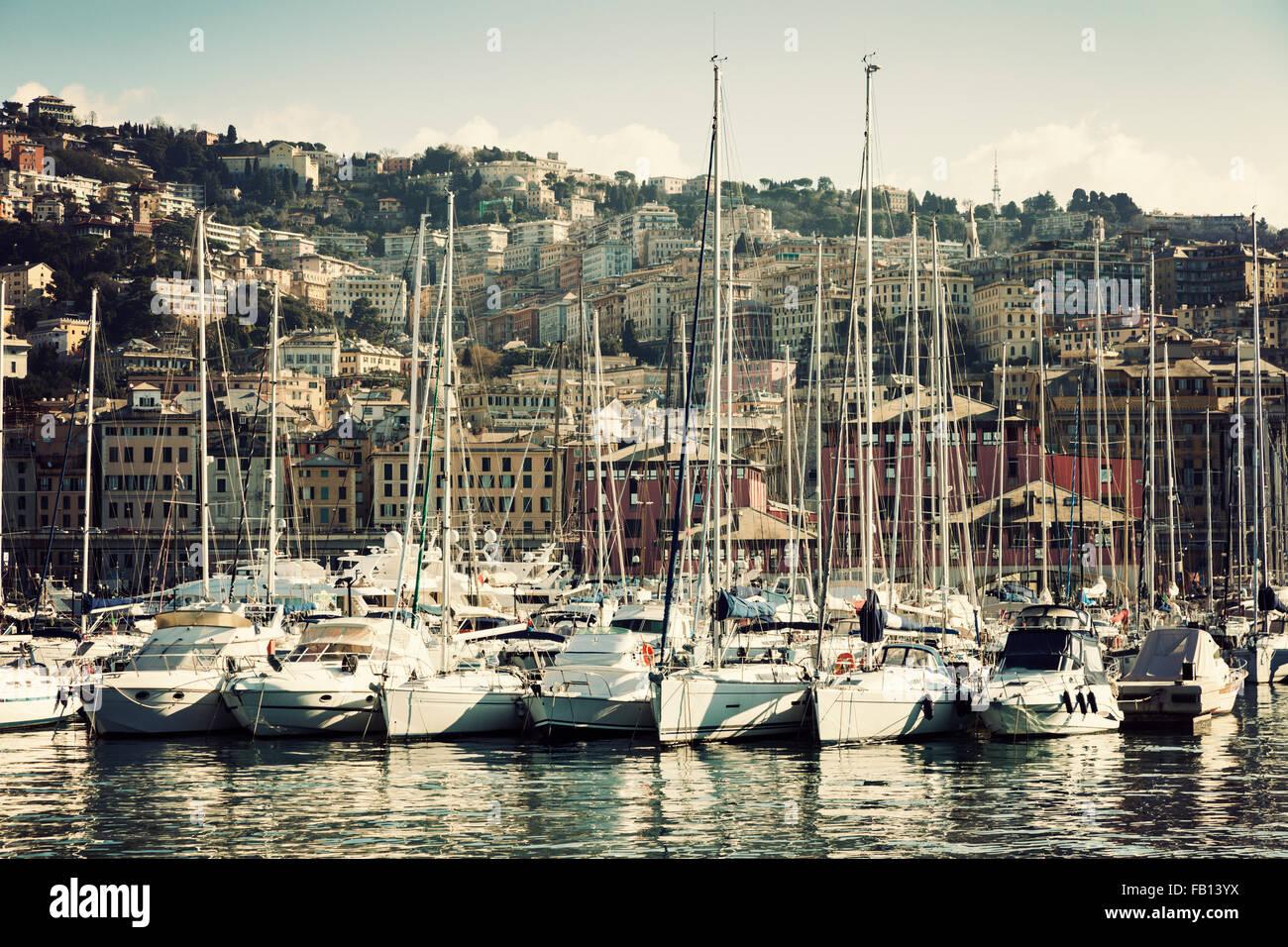 Yachts in Genoa harbor - Stock Image