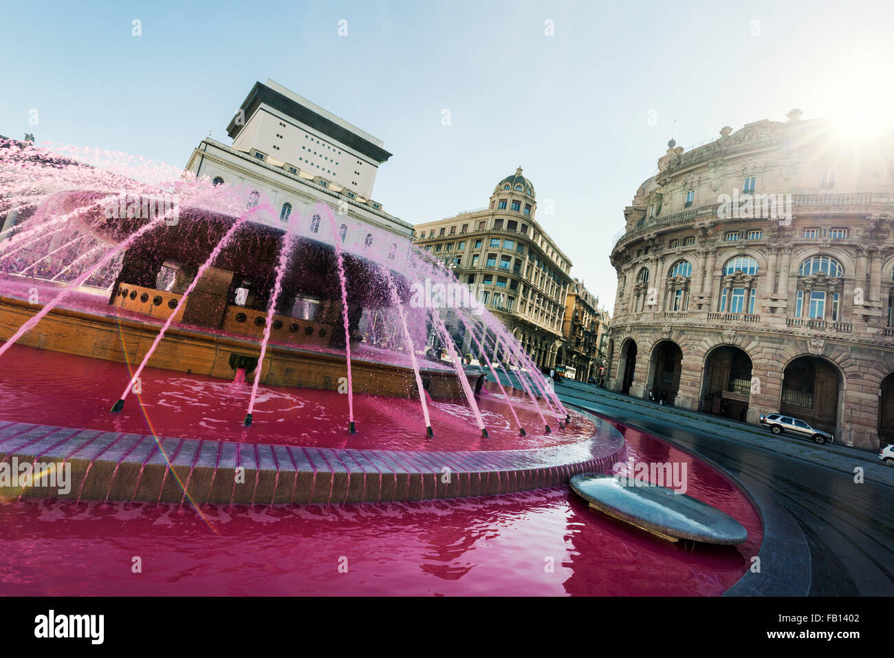 Pink Fountain in Piazza de Genoa on sunny day - Stock Image