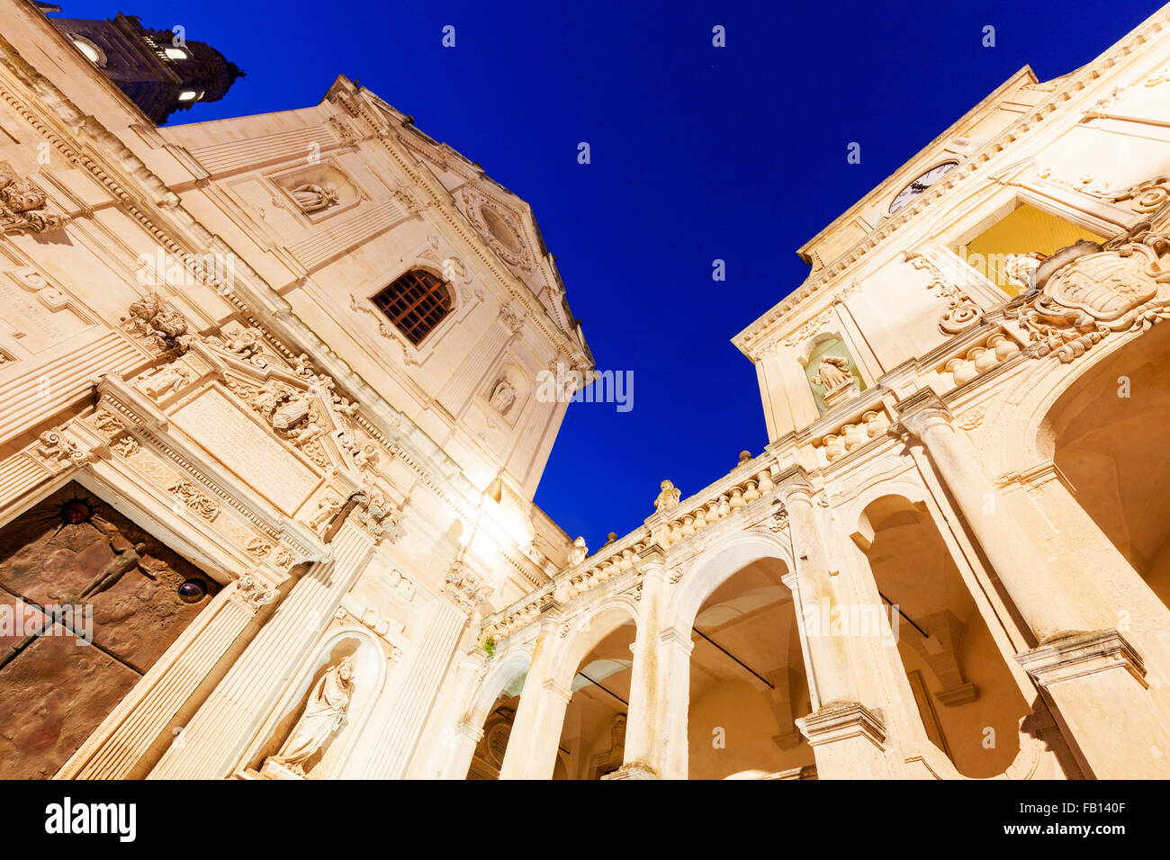 Low angle view of Lecce Cathedral in Duomo square - Stock Image