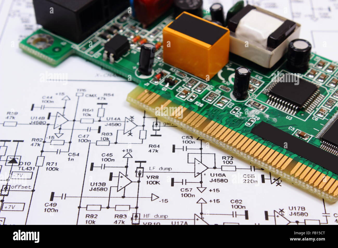Printed circuit board with electrical components lying on Stock ...