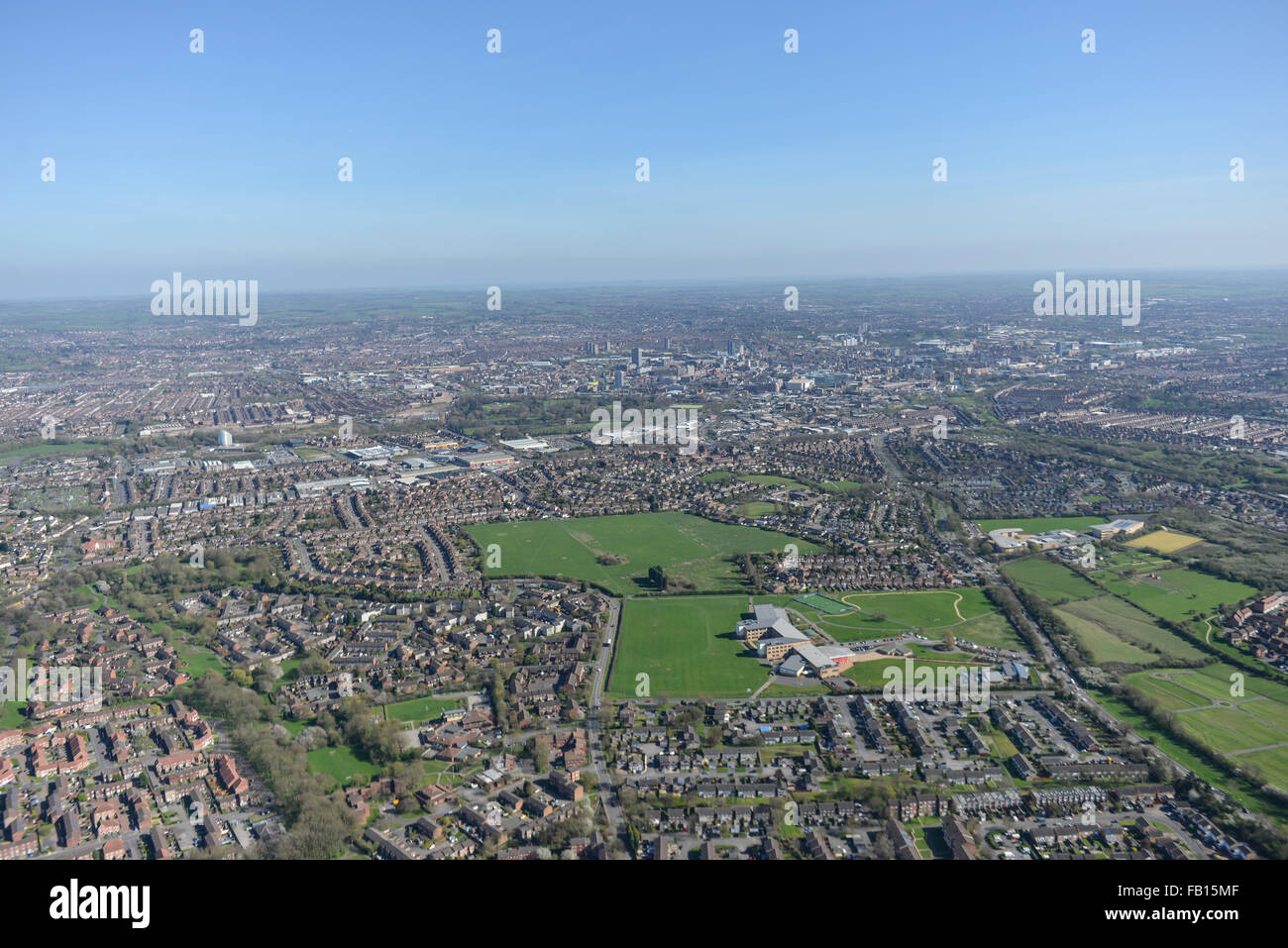 General aerial views over the East Midlands city of Leicester on a bright sunny day - Stock Image
