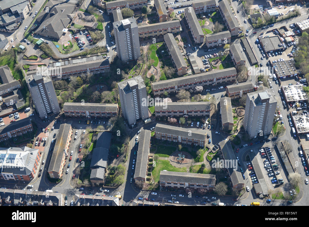An aerial view of the inner-city area Spinney Hills in Leicester - Stock Image