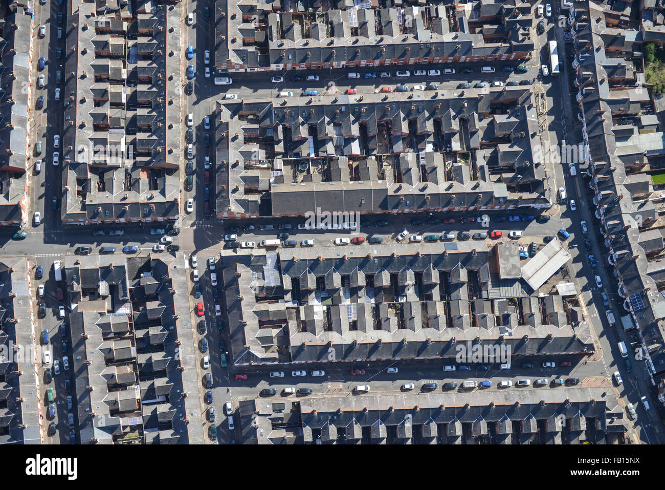 An abstract aerial view of the inner-city area Spinney Hills in Leicester - Stock Image