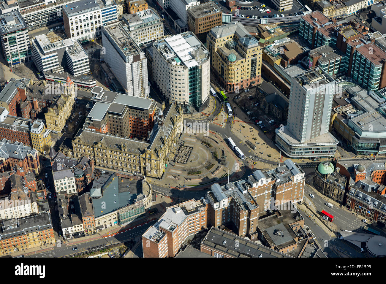 An aerial view of City Square in Leeds City Centre, West Yorkshire - Stock Image