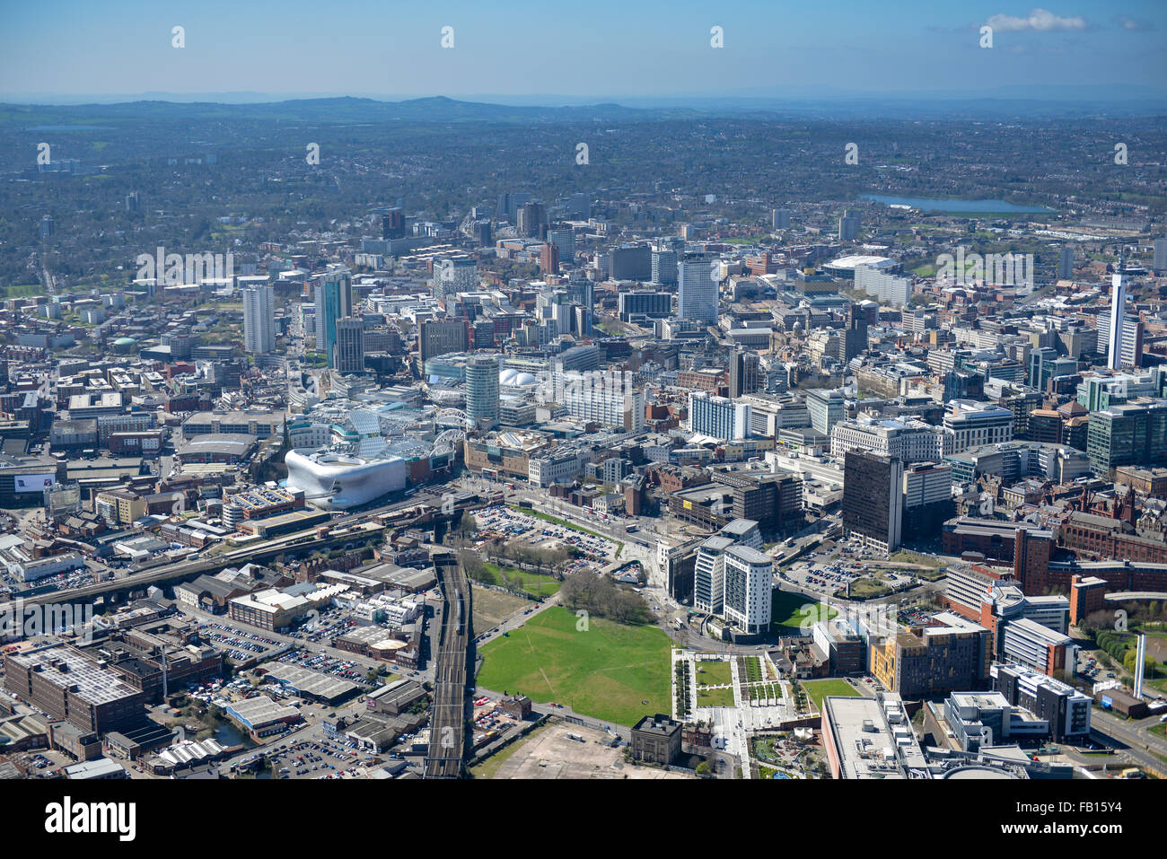 An aerial view the City Centre of Birmingham in the West Midlands, UK - Stock Image