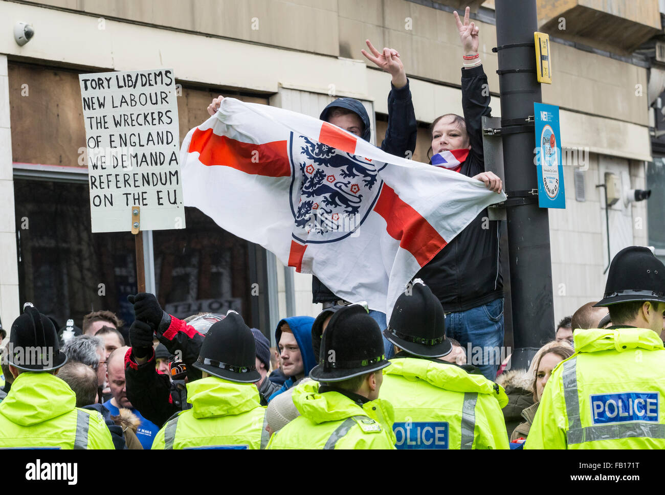 A protester holds a placard demanding referendum Pegida UK protest in Newcastle upon Tyne. UK - Stock Image