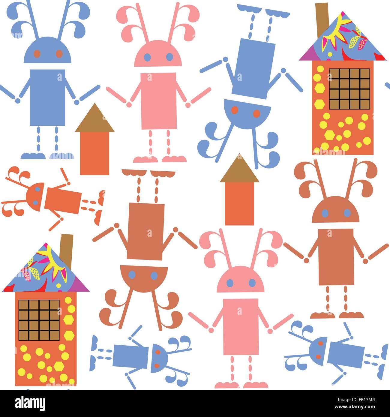 Cute seamless pattern with robots and houses and seamless pattern in swatch menu, vector illustration Stock Vector