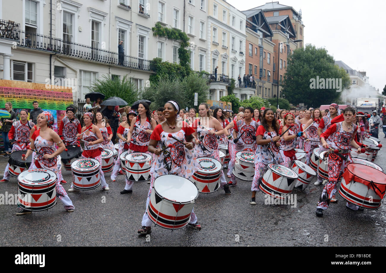 Drummers, Notting Hill, Carnival. London, England. - Stock Image