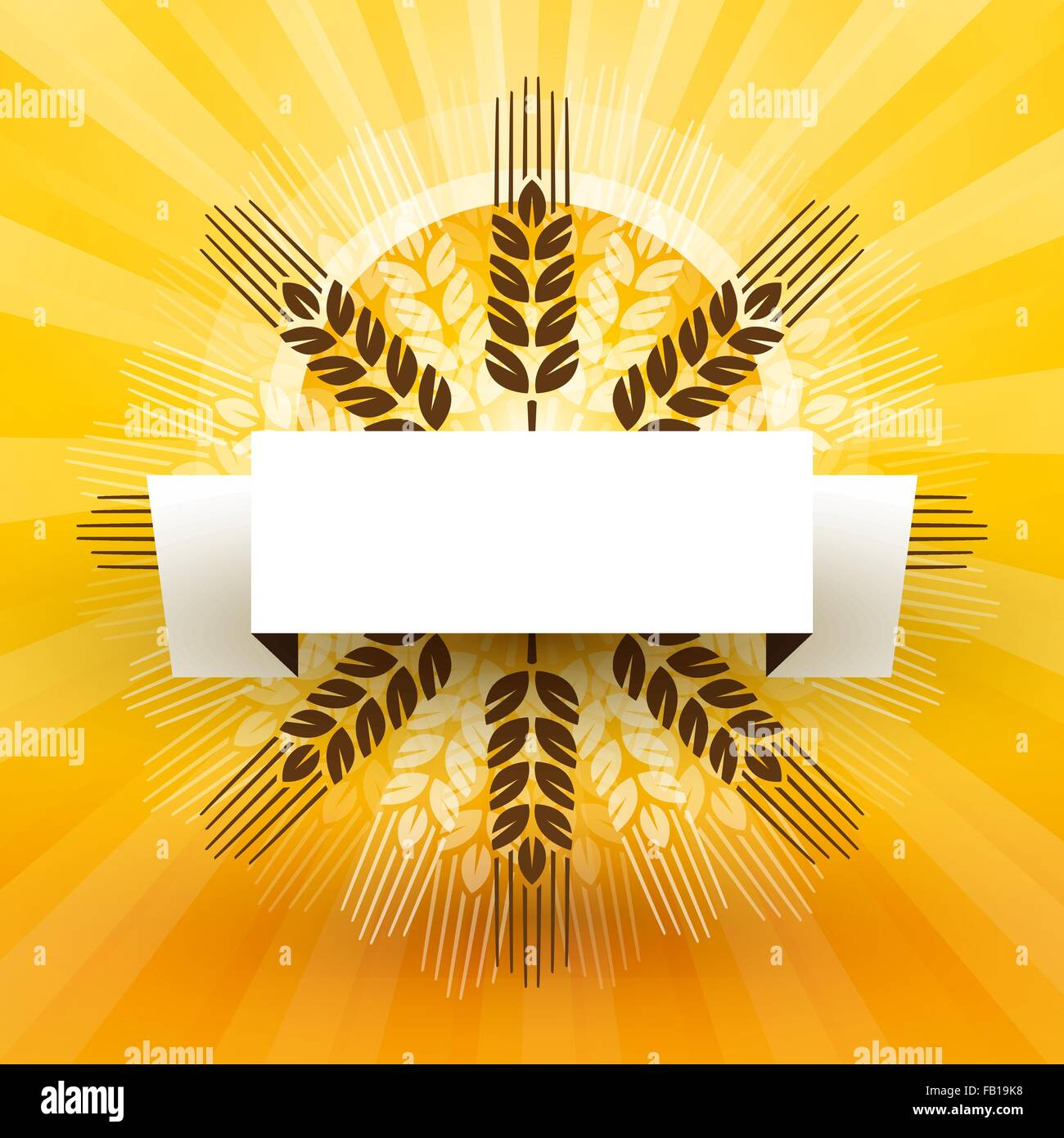 grain with label and sun - Stock Vector