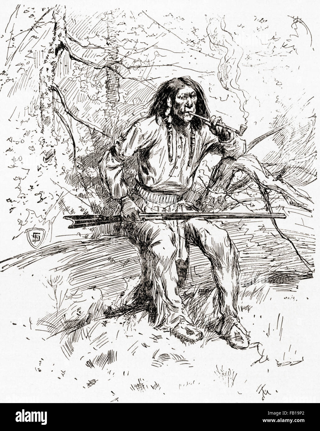 An Apache Indian warrior in the 19th century. - Stock Image