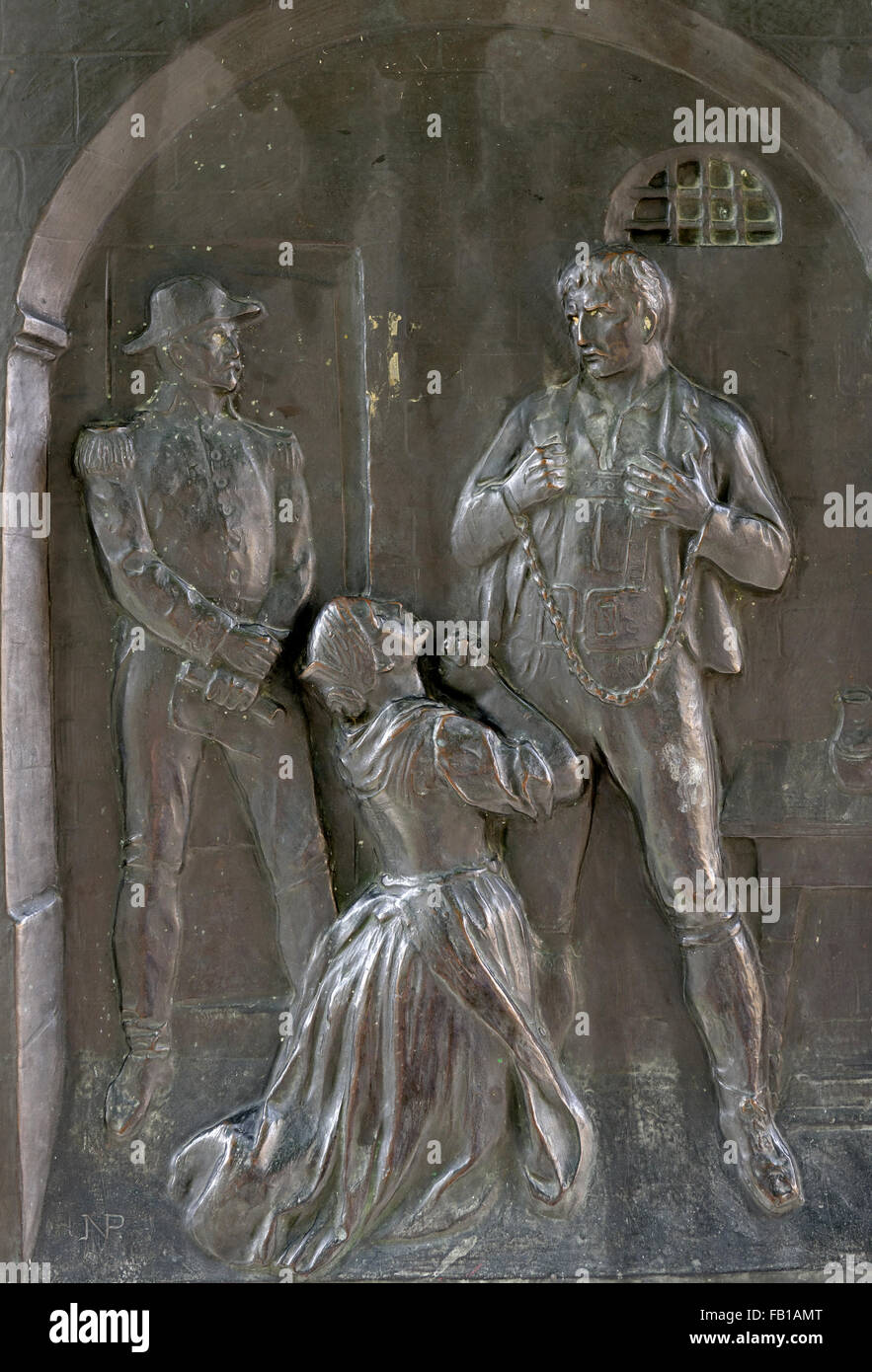 Peter Mayr (1767-1810), saying goodbye to his family, Tyrolean landlord and freedom fighter, bronze plate at Millenniumssäule - Stock Image