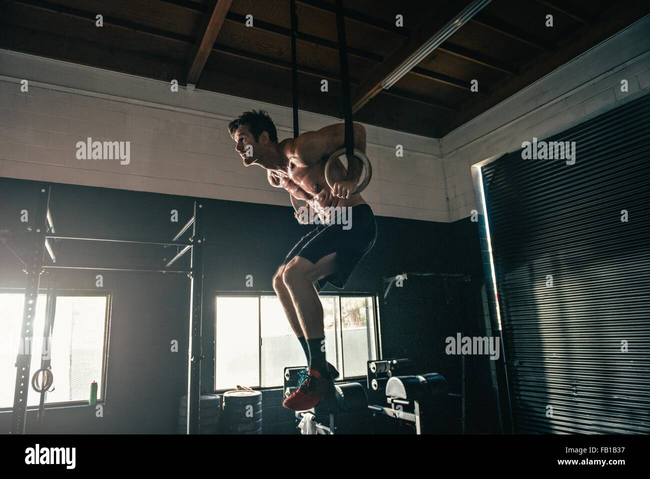 Man poised on exercise rings in gym - Stock Image