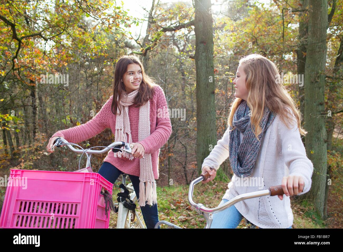 Teenage girls in forest sitting on bicycles with pink crate attached, face to face smiling - Stock Image