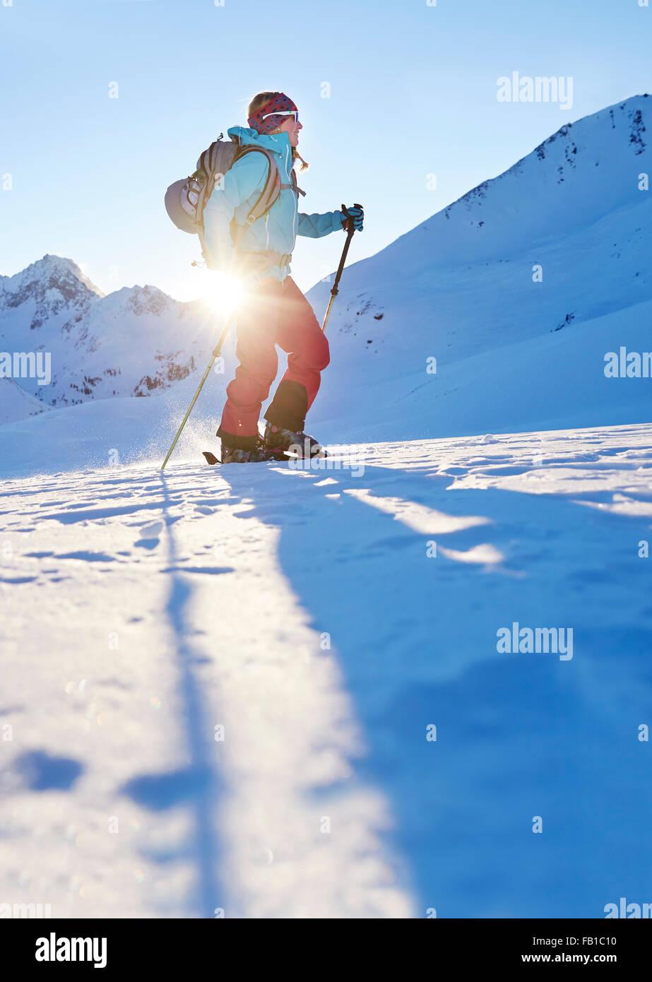 Ski tourer during ascent, Kühtai, Tyrol, Austria - Stock Image