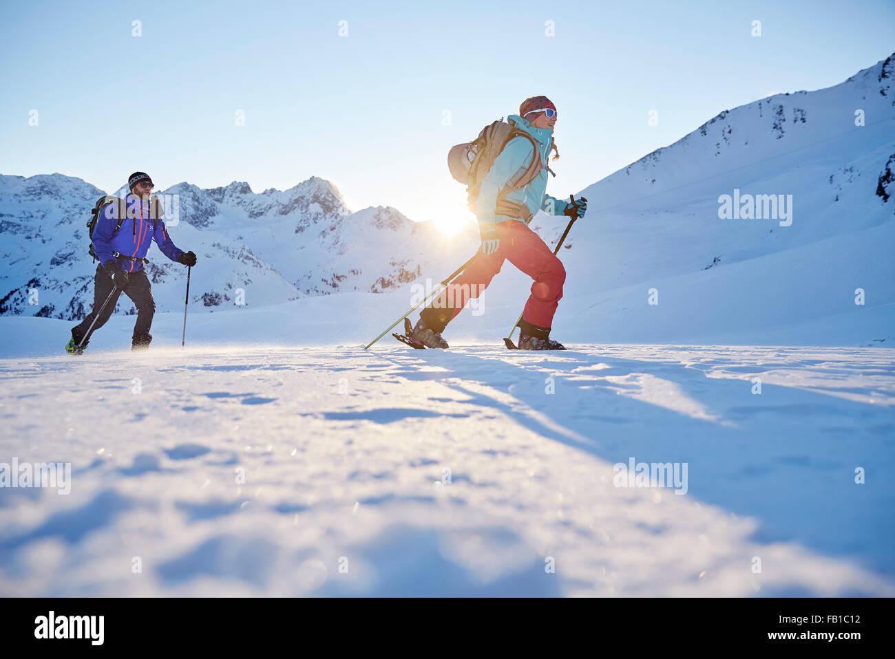 Two ski tourers during ascent, Kühtai, Tyrol, Austria - Stock Image
