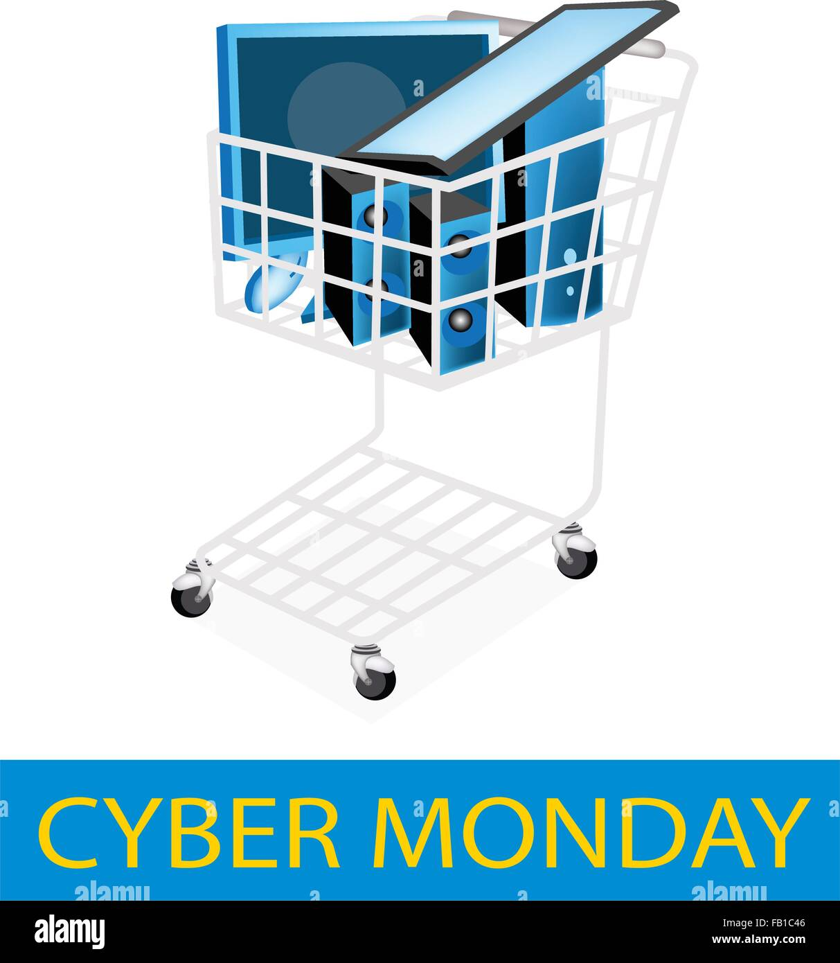 Excellent Cyber Monday Shopping Cart Full With Desktop Computer Or Download Free Architecture Designs Salvmadebymaigaardcom