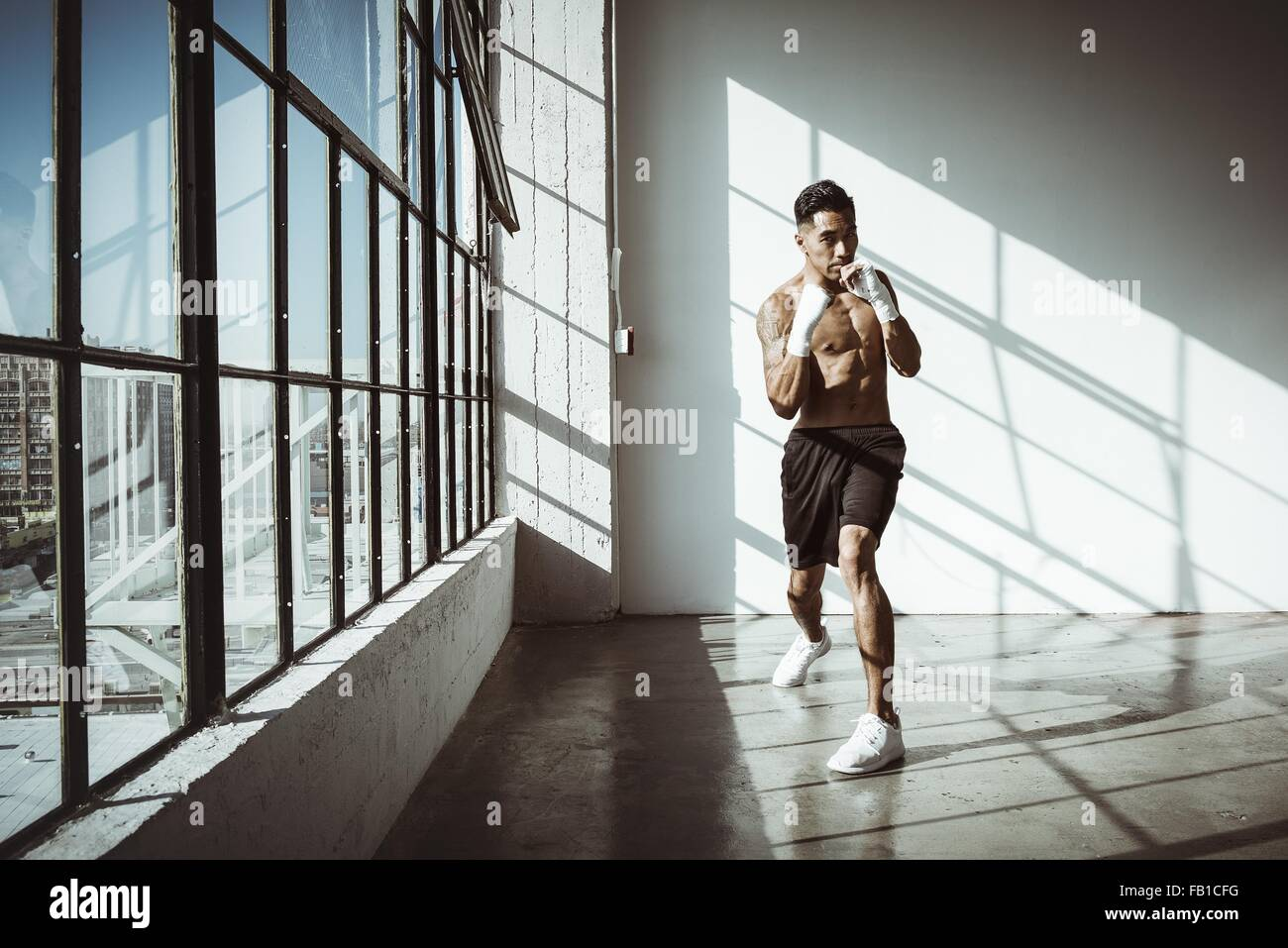 Full length front view of young man in gym in boxing stance looking at camera - Stock Image