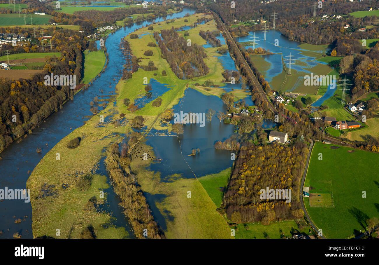 Floods in the Ruhr flood plains in Winz, Ruhr, Ruhr Valley, Hattingen, Ruhr district, North Rhine-Westphalia, Germany - Stock Image