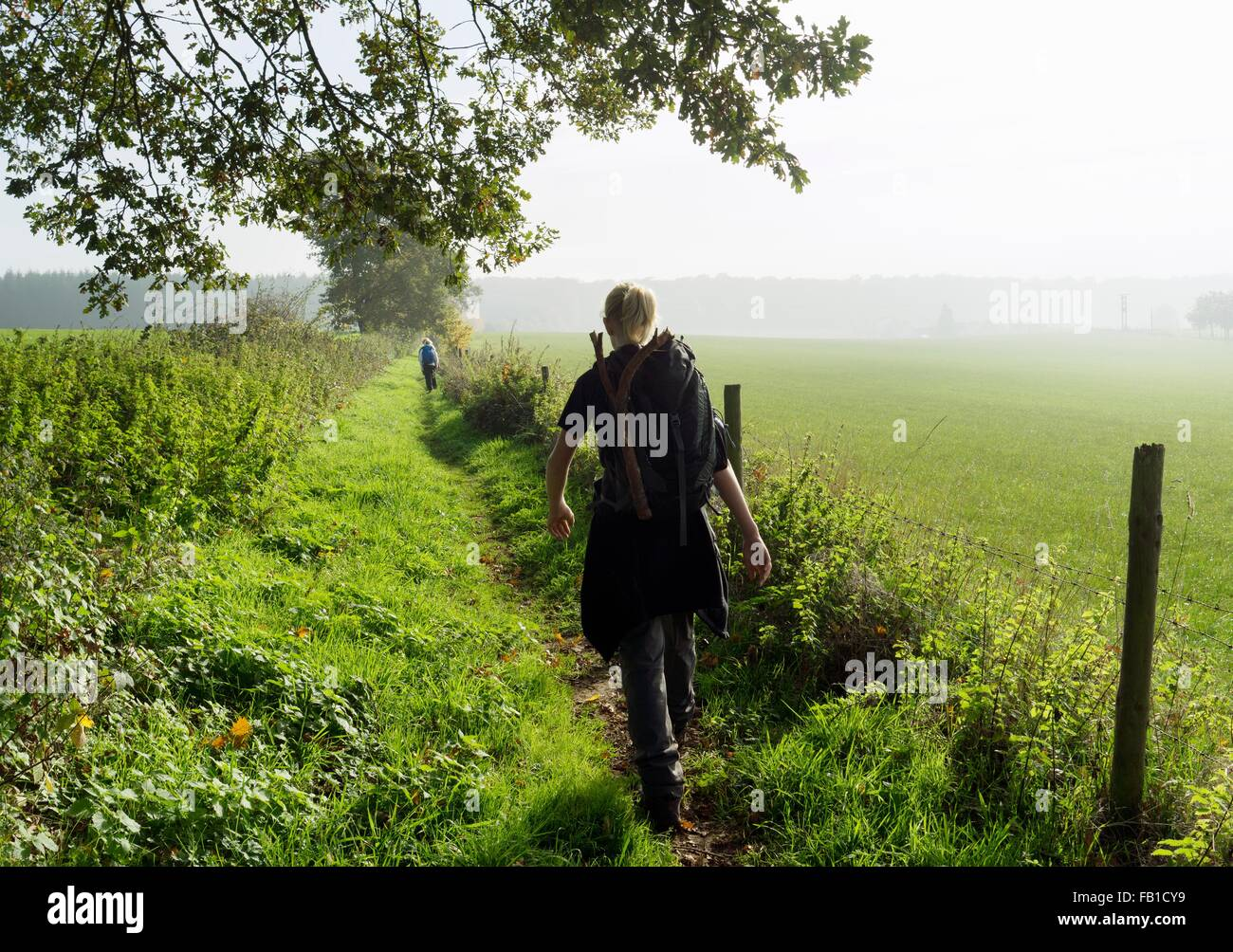 Rear view of teenage boy hiking along ancient roman path, Beaufort, Echternach, Luxembourg - Stock Image