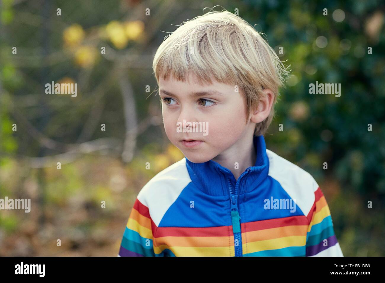Head and shoulder portrait of boy looking away - Stock Image