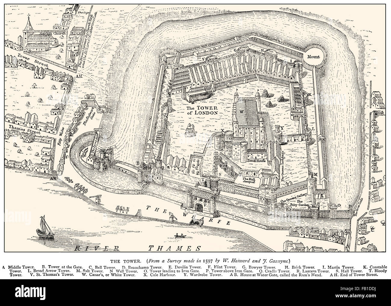 Tower of London, Her Majesty's Royal Palace and Fortress, historic castle on the north bank of the River Thames, - Stock Image