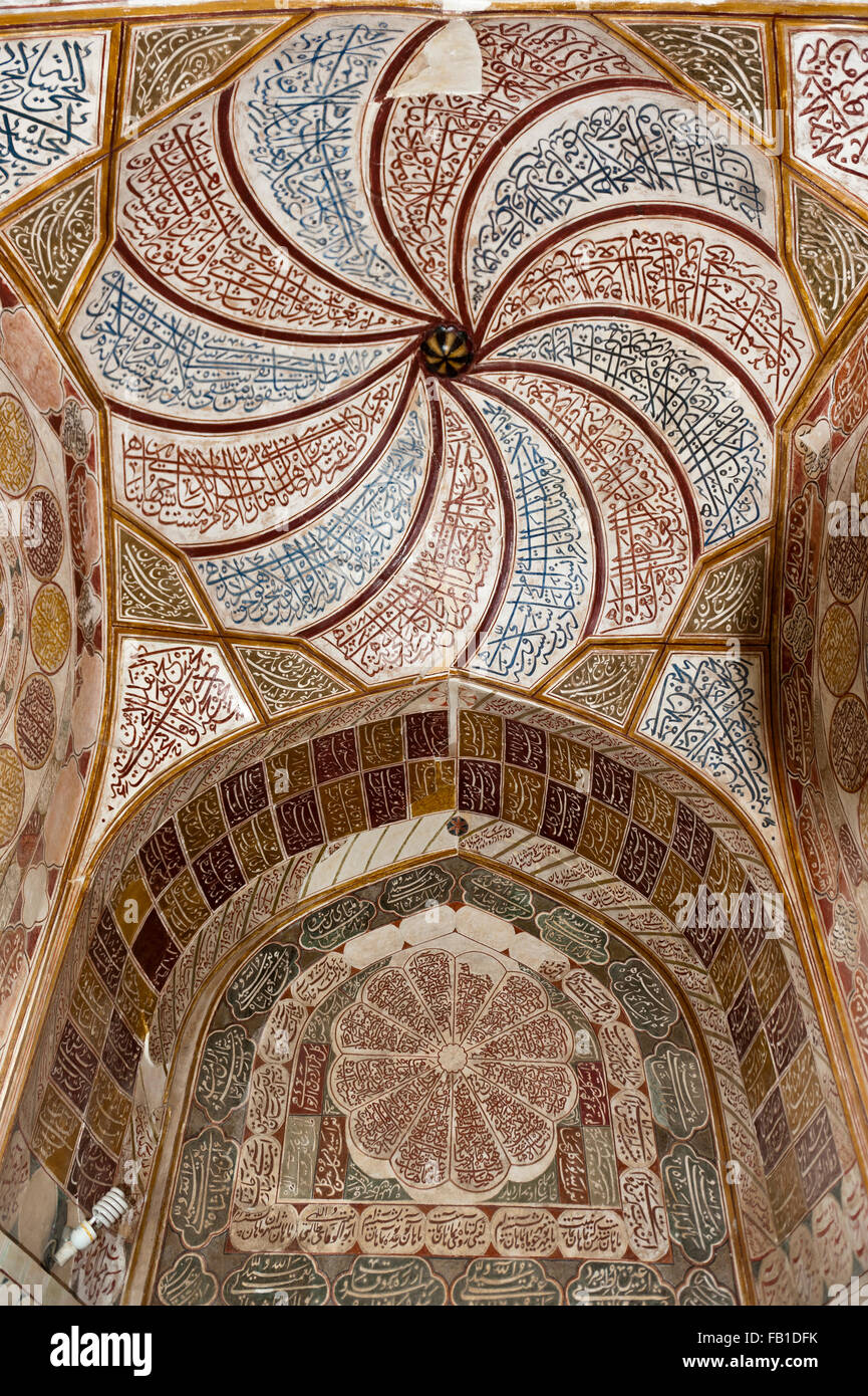 Grave mosque, , Shi'ite Sufism, murals and ceiling paintings, compass rose and Quran suras, mausoleum of Shah - Stock Image