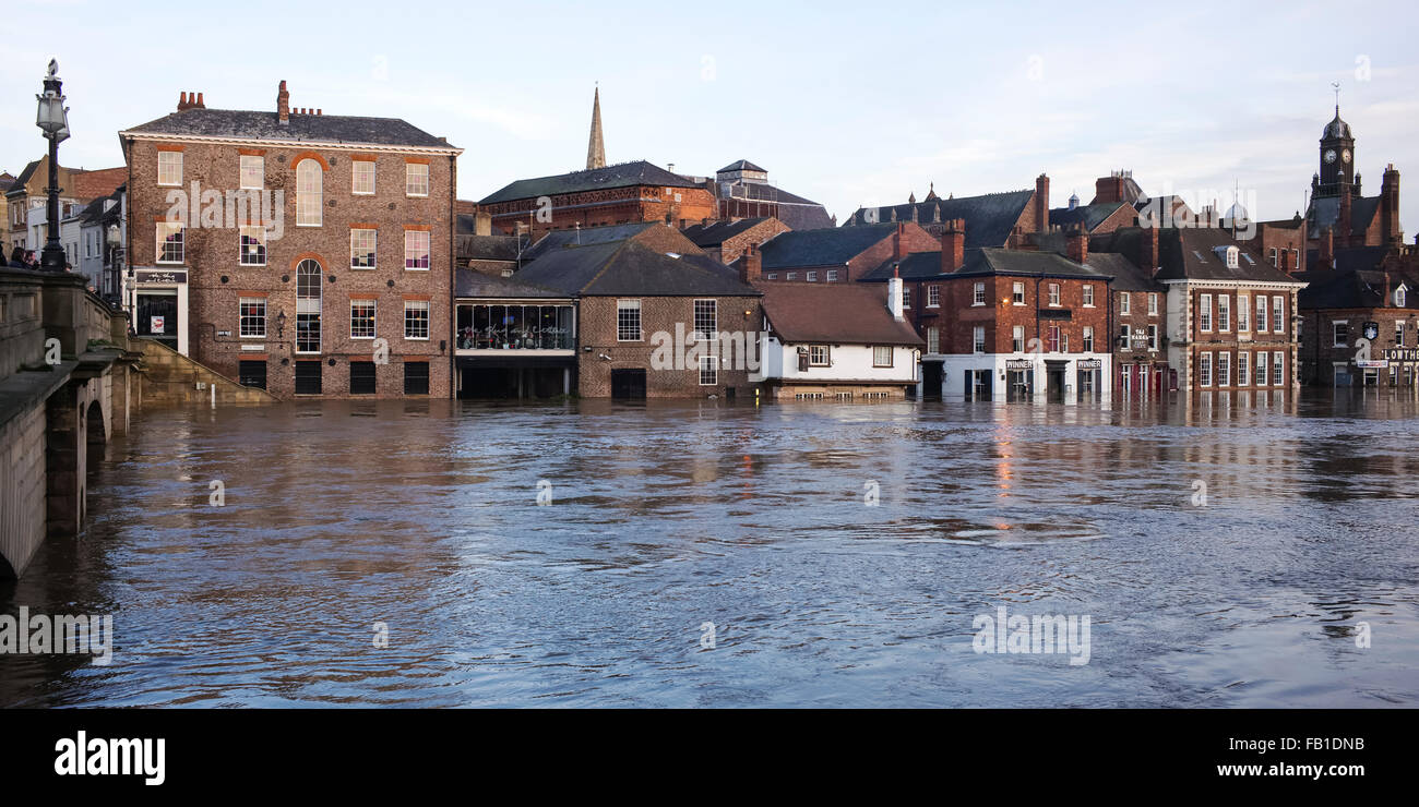 The Iconic view of 'Flooded York' taken from the Ouse Bridge, Christmas 2015, York, Yorkshire, England, UK Stock Photo
