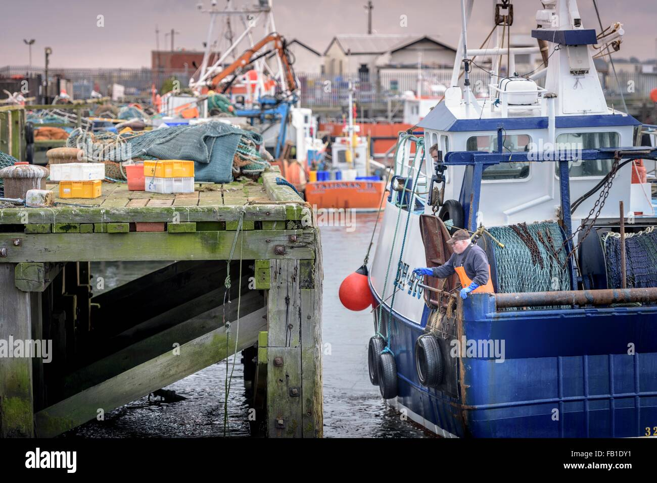 Fishermen tying up trawler in harbour at dusk - Stock Image