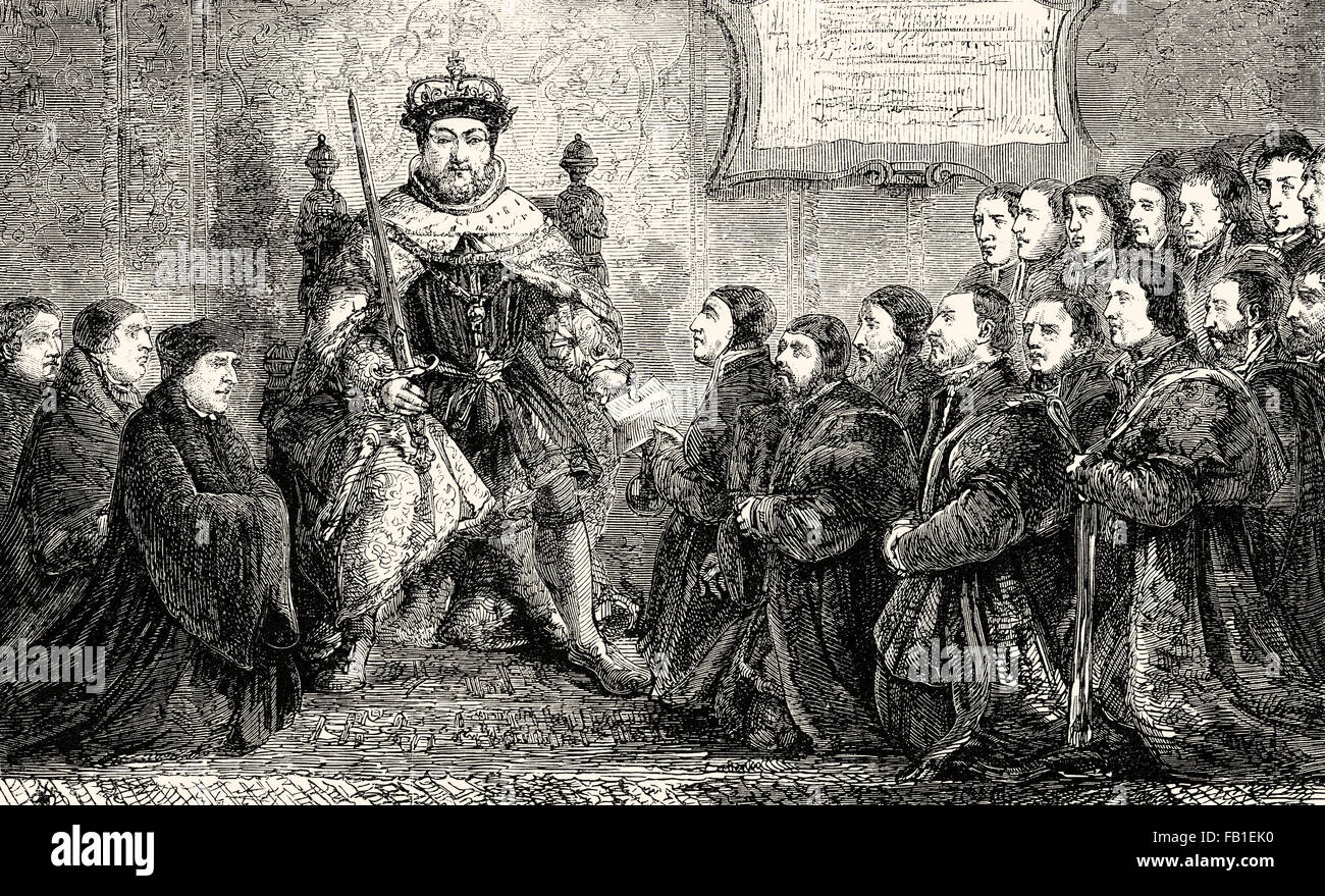 Henry VIII presents the Barber-Surgeons' Company Charter to the first Master, 16th century - Stock Image