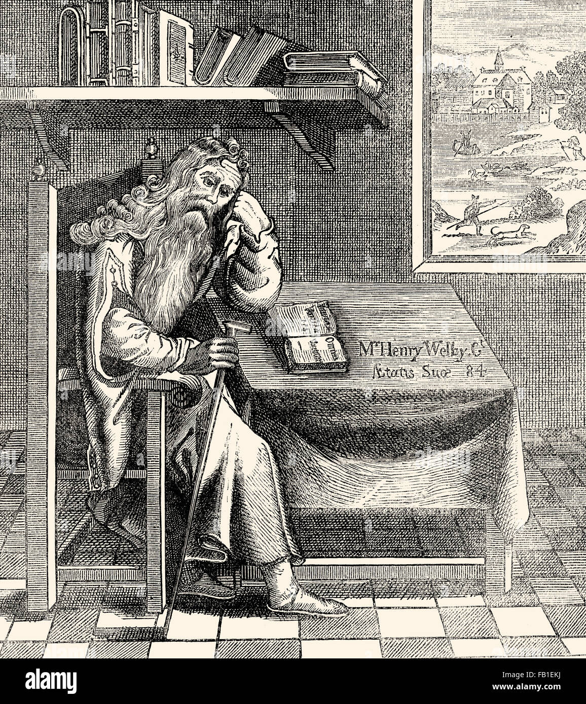 The Hermit of Grub Street, London, c. 1700 - Stock Image