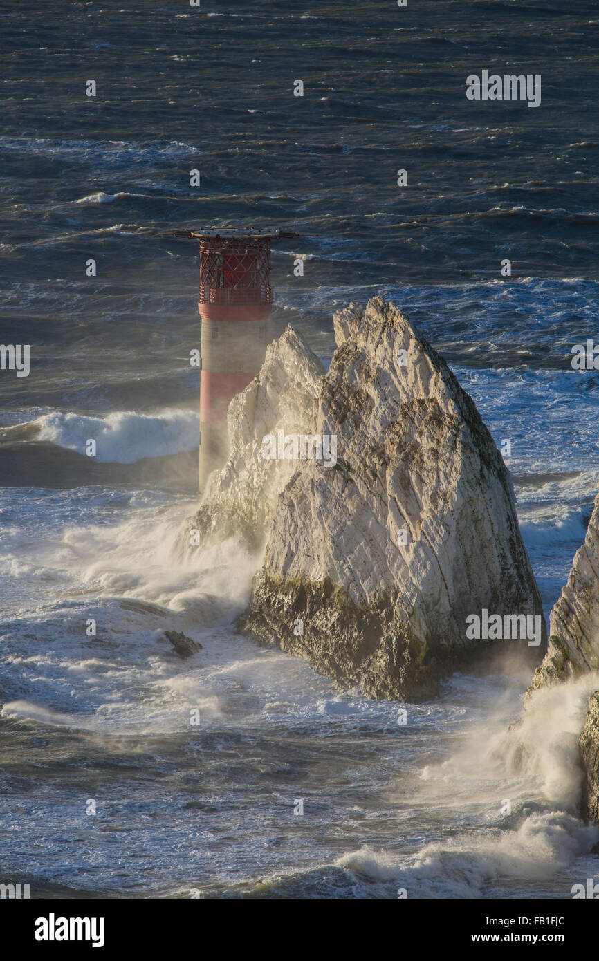 Isle of Wight, UK. 7th January, 2016. Very rough weather and high winds off The Needles, More wind and rain batters - Stock Image