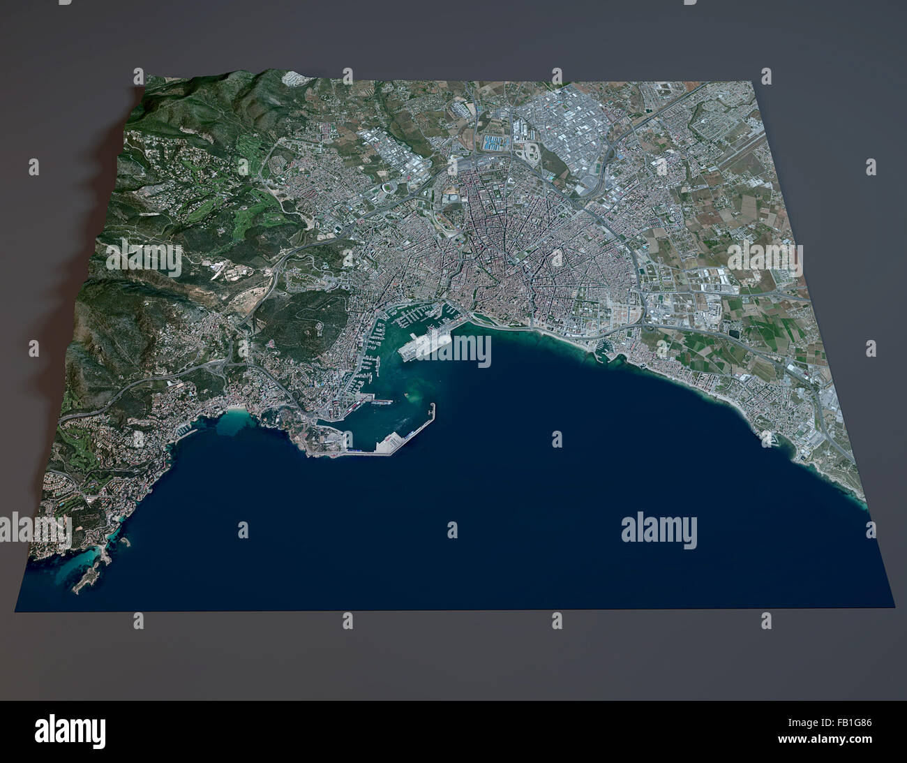 Palma De Mallorca Satellite View Map Balearic Spain Stock Photo