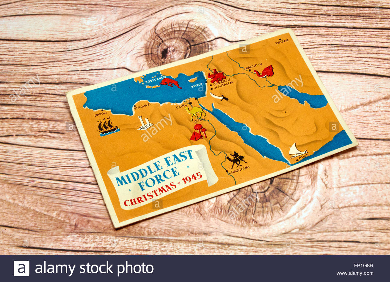 Tehran Middle East Map.A 1945 Middle East Forces Christmas Card Showing A Map Of Egypt