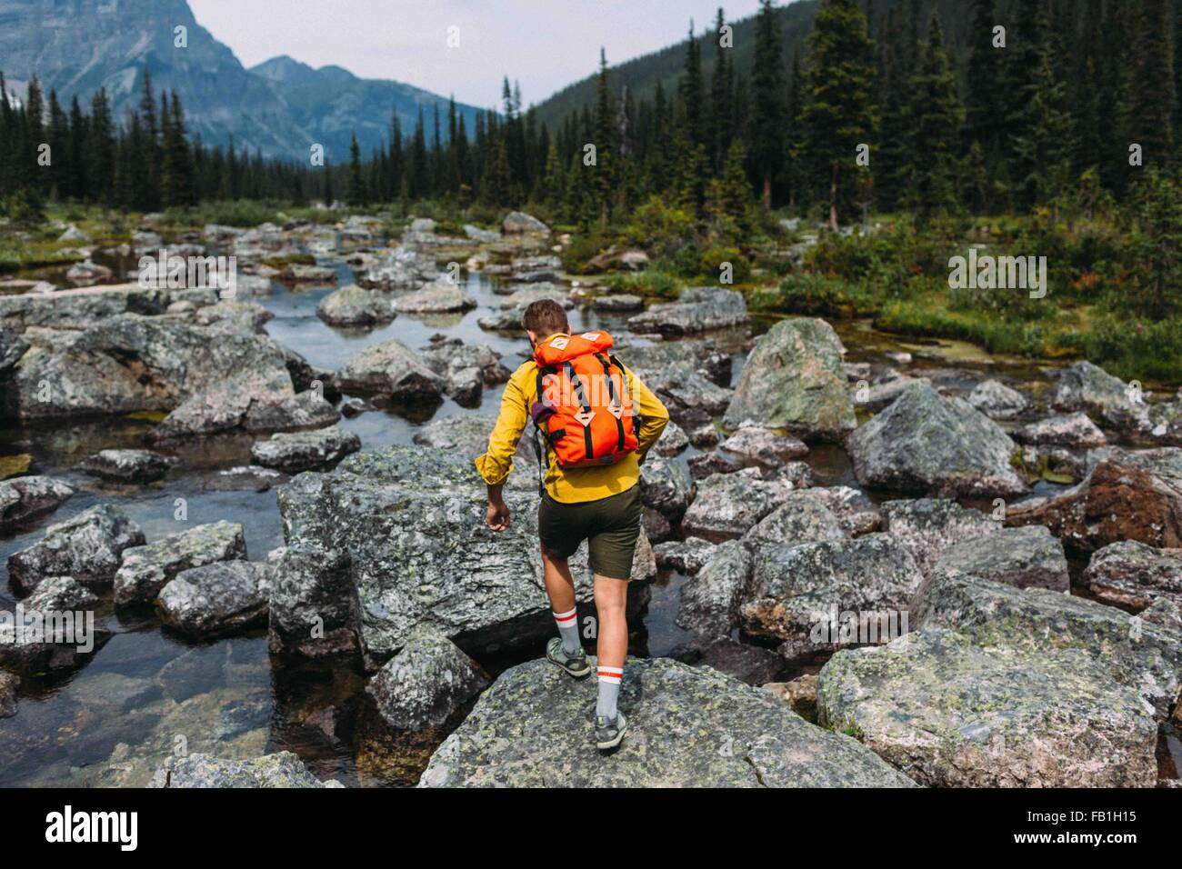 Rear view of mid adult man carrying backpack walking on rocky riverbed, Moraine lake, Banff National Park, Alberta - Stock Image