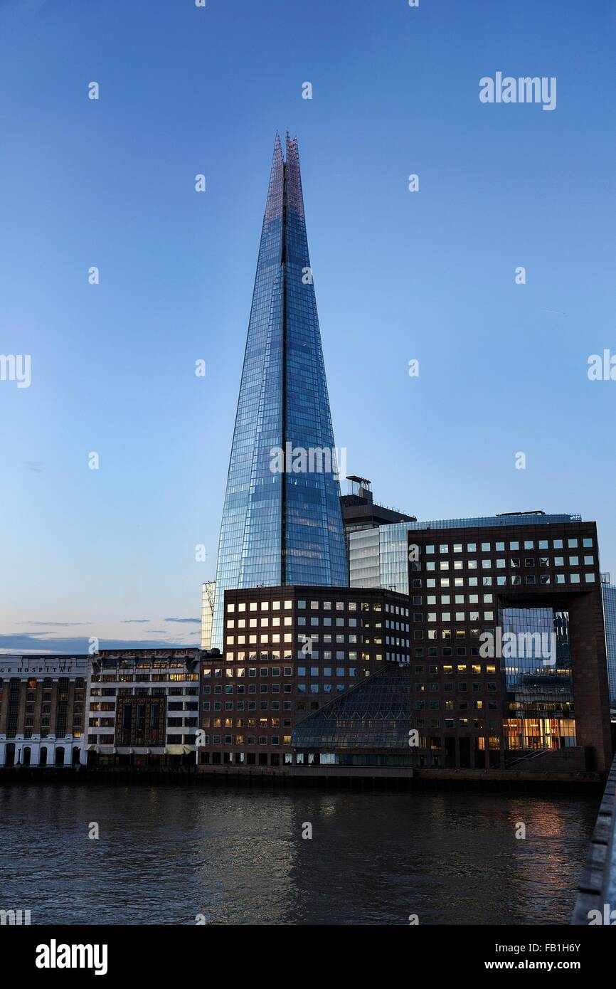 View of the Shard from London Bridge, London, UK - Stock Image
