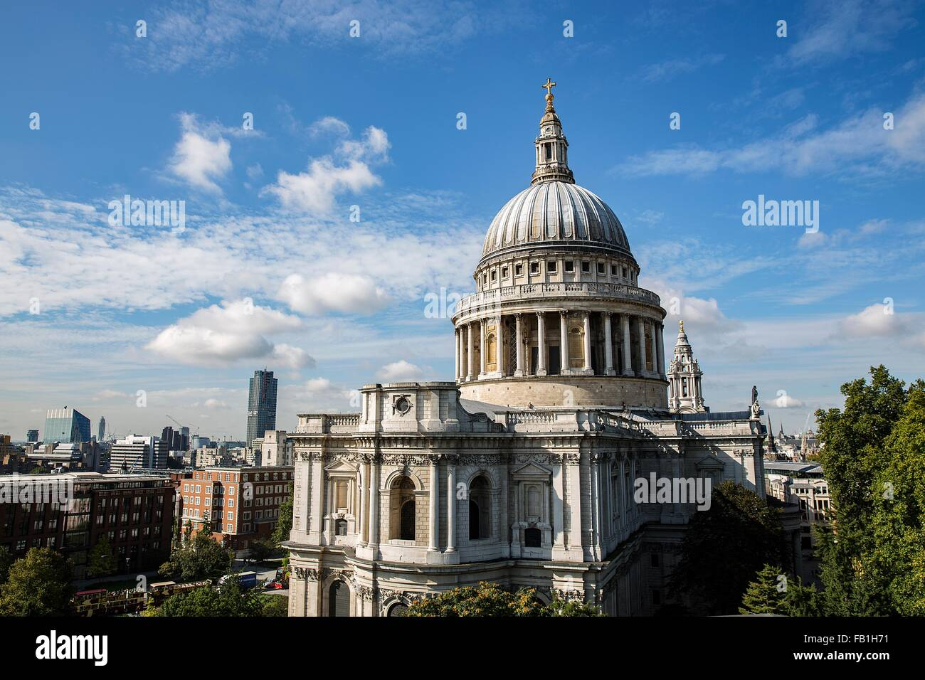 Elevated view of St Pauls Cathedral, London, UK - Stock Image