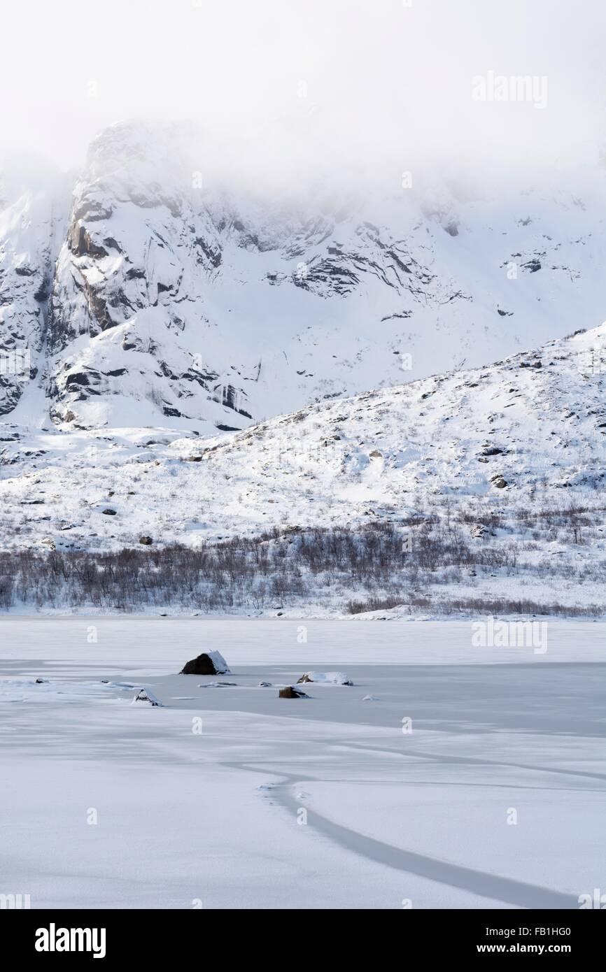 Frozen fjord near Svolvaer, Lofoten Islands, Norway - Stock Image