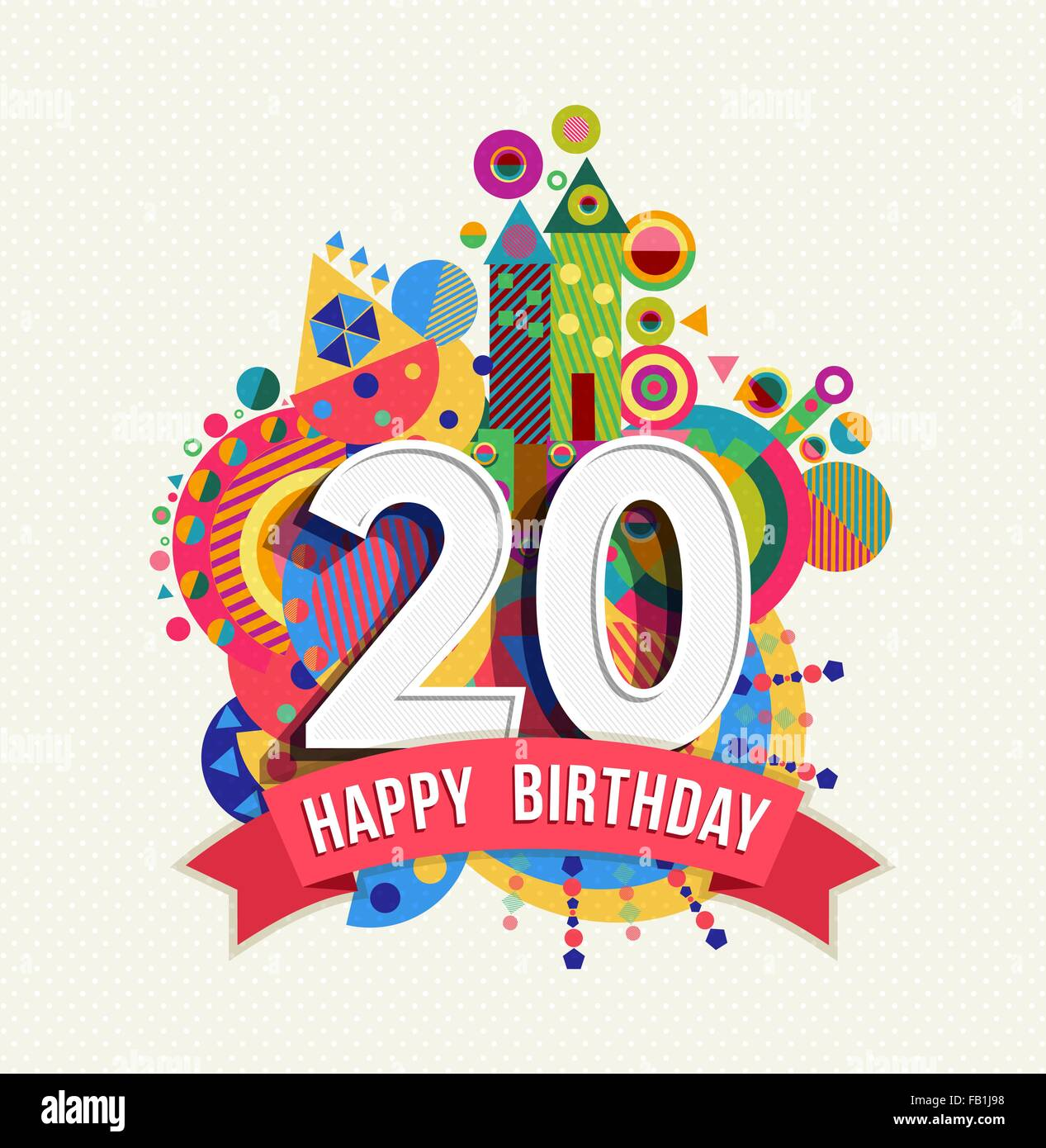 Happy Birthday twenty 20 year fun design with number, text label and colorful geometry element. Ideal for poster - Stock Vector