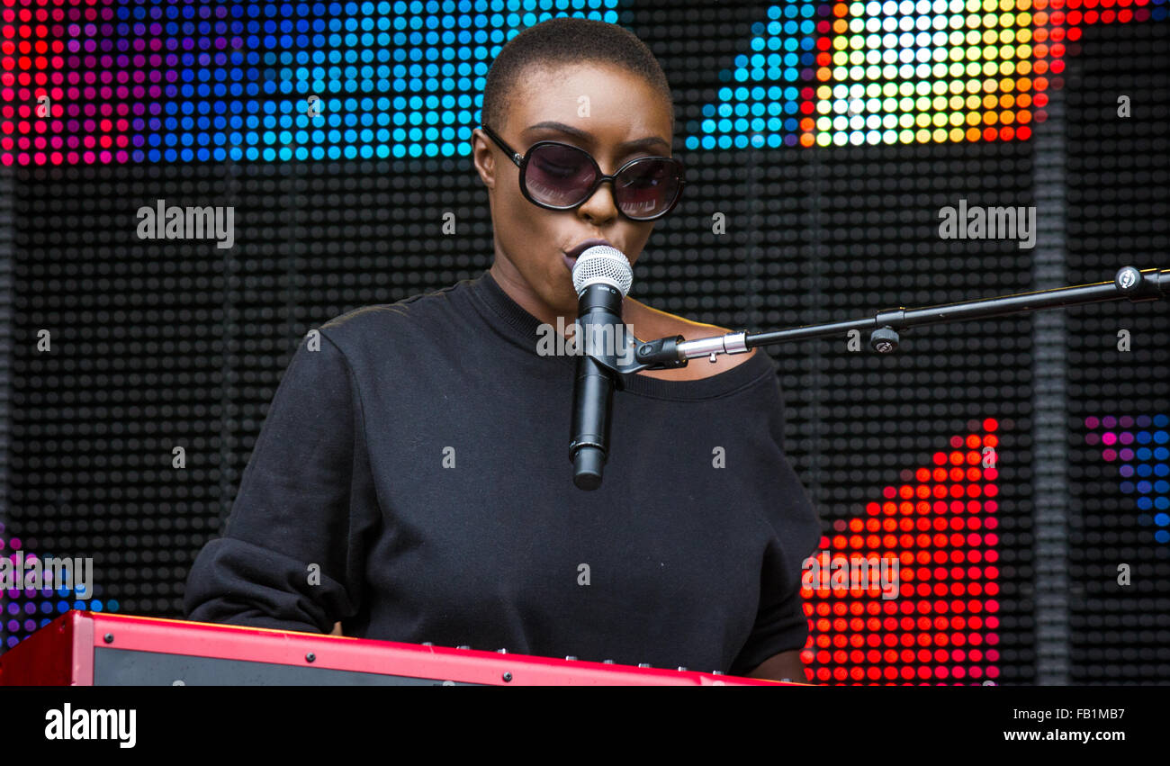 Laura Mvula performing at Victorious Festival, Southsea, 2015. Stock Photo