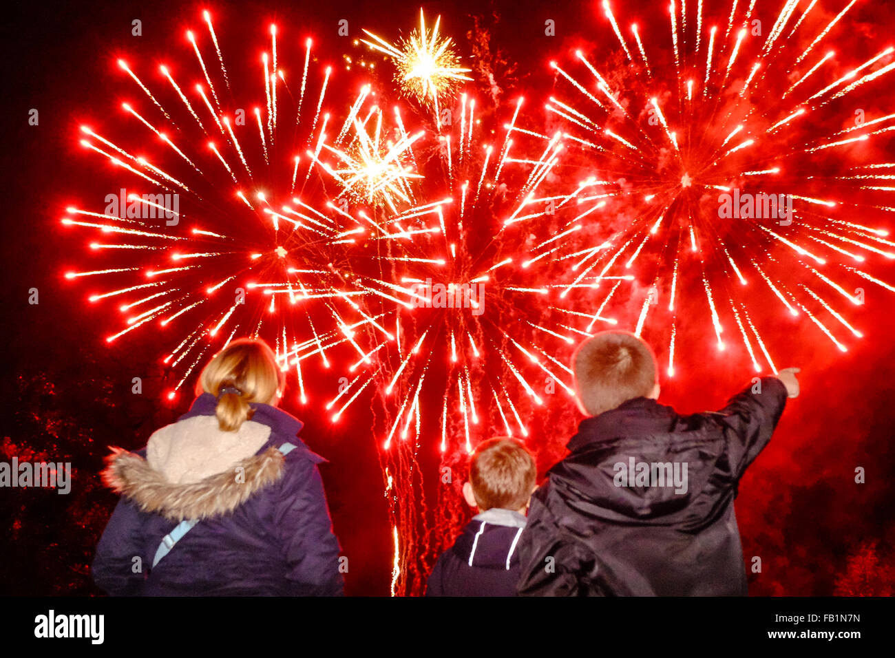 Guy Fawkes night fireworks. - Stock Image