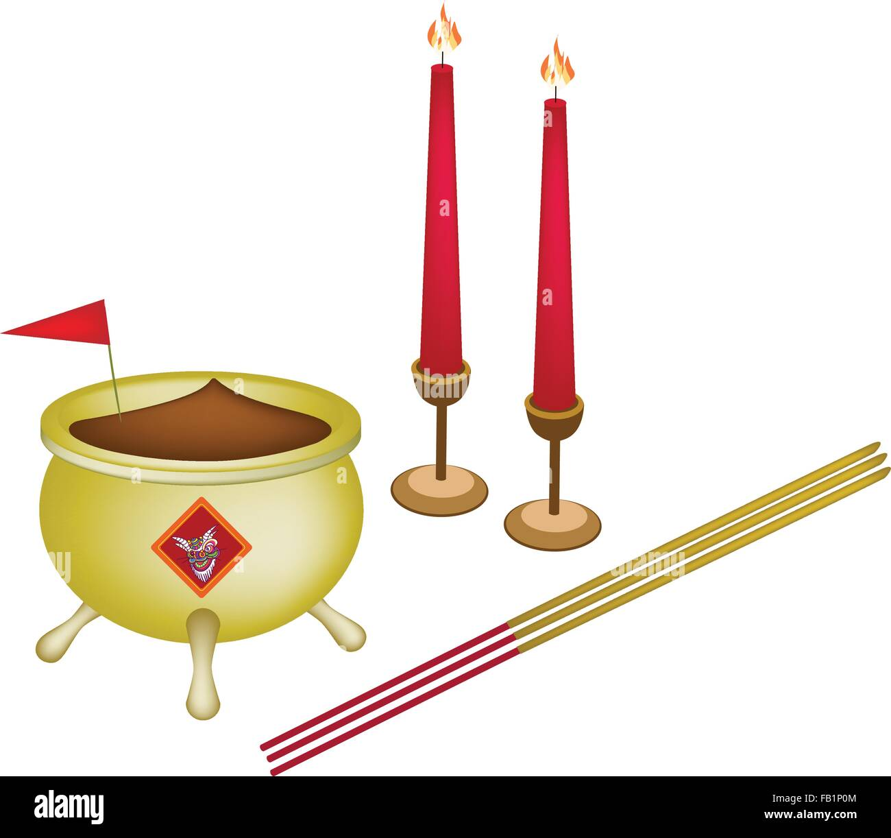 Chinese Cultural Joss Stick Pots Or Chinese Incense Burner With Joss Stock Vector Image Art Alamy