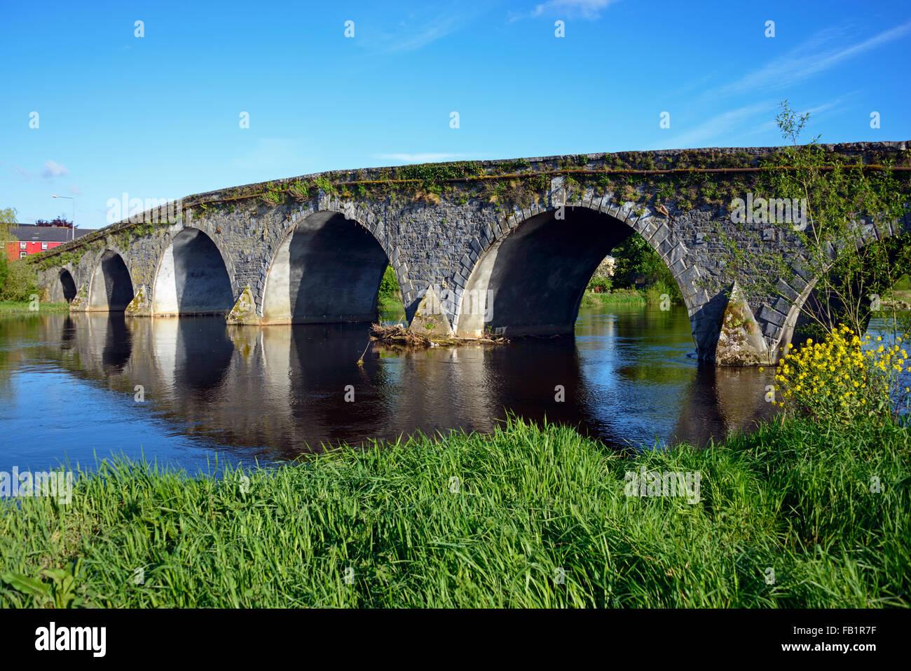 Bennettsbridge, bridge over River Nore, County Kilkenny, Ireland - Stock Image