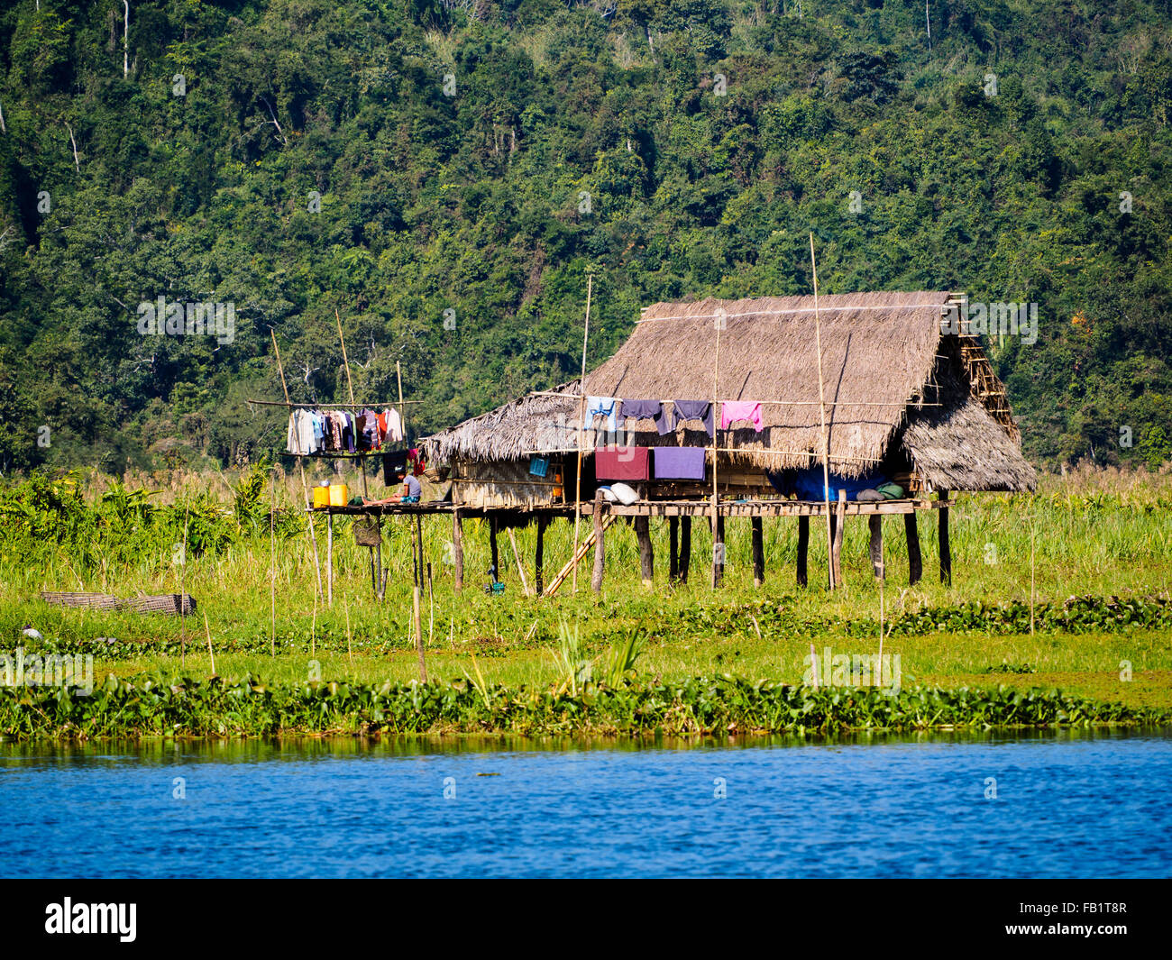A Small Wooden Hut On The Bank Of Indawgyi Lake.